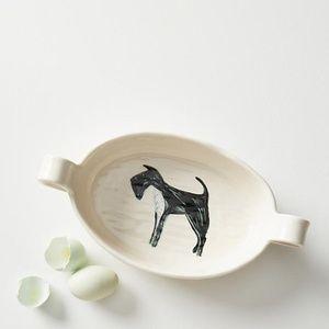 ANTHROPOLOGIE Painted Pup Au Gratin Schnauzer Dish